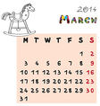 horse calendar 2014 march vector image