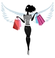 Silhouette of a pretty young woman angel with the vector image