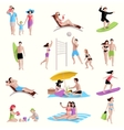 People On Beach Icons vector image