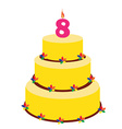 Eighth birthday cake vector image