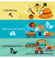 Coal industry banners set vector image vector image
