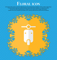 motorcycle Floral flat design on a blue abstract vector image