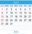 july calendar vector image vector image