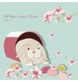 Happy Easter card with bunny rabbit vector image