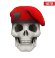 Human skull with Military maroon beret vector image