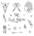 Native american style Sketch Icon Set vector image