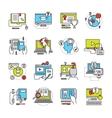 Online Education Flat Icon Set vector image