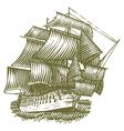 Woodcut Ship vector image vector image