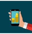 Hand with Abstract Phone and Mobile Payment vector image