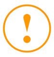 orange circle exclamation mark icon warning sign vector image
