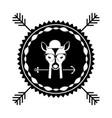 emblem deer hipster hunter city icon vector image