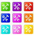 hammer and screw wrench set 9 vector image