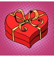 Red gift box in heart shape Love Valentines day vector image