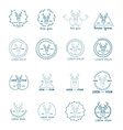 Set of polygonal hipster logo with head of deer vector image vector image
