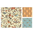 set of seamless birds and leaves patterns vector image