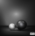 black and white spheres abstract background vector image