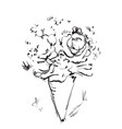 bouquet with hand drawn flowers and plants vector image
