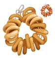 Bunch of bagels on a rope food isolated vector image