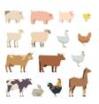 Farm animals flat icons vector image