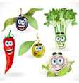 Funny cute vegetables smiles celery cauliflower vector image