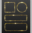 golden glowing frames with shiny gold sparks vector image