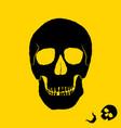 monochrome of skull on yellow vector image