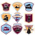 set of emblems with vintage train retro rail road vector image
