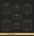 set of vintage gold frames vector image