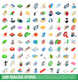 100 dialog icons set isometric 3d style vector image