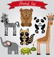 animal set zebra turtle giraffe elephant panda vector image