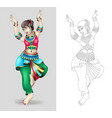 beautiful indian women dancing coloring isolated vector image