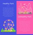 healthy and unhealthy park set vector image