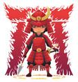 Red Armor Samurai vector image