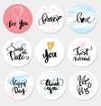 set stickers wedding and love vector image