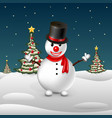 snowman on the background of trees vector image