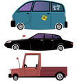 Three cartoon cars vector image