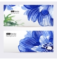 Two floral watercolor banners with anemones vector image