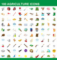 100 agriculture icons set cartoon style vector image