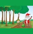 a boy and a santa claus vector image vector image