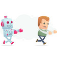 robot trying to catch up man vector image vector image