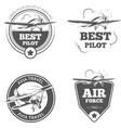 Vintage biplane and monoplane emblems set vector image