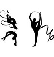rhythmic gymnasts silhouettes vector image