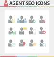 Agent SEO Icons set vector image