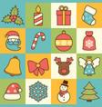 Christmas icons set flat line vector image