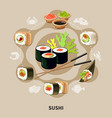 flat sushi composition vector image