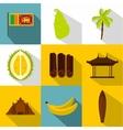 Tourism in Sri Lanka icons set flat style vector image