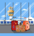 travel suitcases inside of airport with a plane vector image