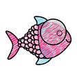 color pencil drawing of fish with big eye and vector image