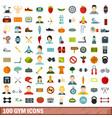 100 gym icons set flat style vector image