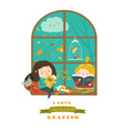 cute girls reading book by the window vector image